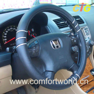 Leather Steering Wheel Cover (SAFJ03950) pictures & photos