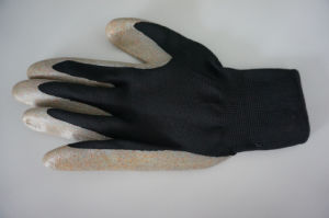 Polyester Shell Nitrile Coated Saftey Work Gloves (N1801-1) pictures & photos