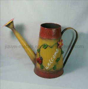 Natural Flower Design Watering Can with Welcome