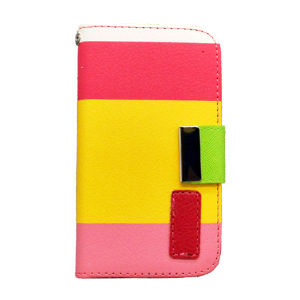 Contrast Color Mobile PU Leather Case for Samsung Mobile Phone ,Stand Wallet Leather Case pictures & photos