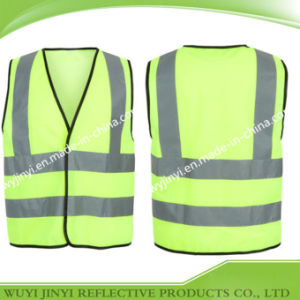 High Visibility Vest with Black Pipping