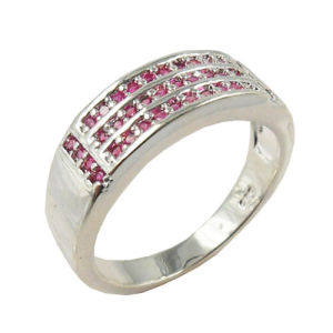 White Gold Pink Rhinestone Crystal Ring (RSW5550)
