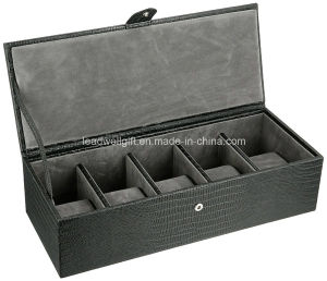 Black Leather Five Piece Watch Box Gift Box pictures & photos