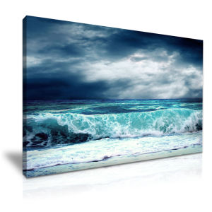 Cloudy Day Seabeach Wall Art Canvas Painting