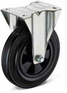 Heavy Duty Flat Plate Rigid Black Rubber Wheel Caster