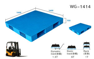 100% Virgin HDPE Bule Color Light Duty Nestable Plastic Pallets for Export pictures & photos