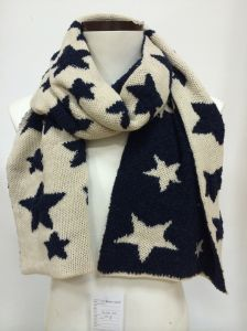 Acrylic Knitted Us Flag Star Knitted Jacquard Scarf for Winter