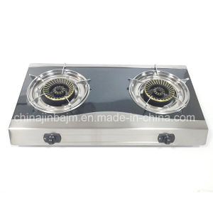 Double Burner Black Coated Gas Cooker with Whirl Cap pictures & photos