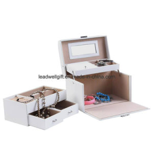 White Leather Jewelry Box Storage with Mirror and Drawers Case pictures & photos