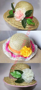 Popular Girl Paper Straw Hat with Flower pictures & photos