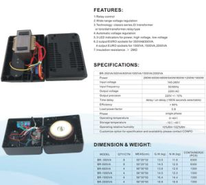 Br-350va/500va/600va/1000va/1500va/2000va Relay Euro Socket Automatic Voltage Regulator/Stabilizer pictures & photos