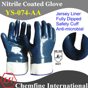 Jersey Glove with Anti-Microbial Blue Nitrile Fully Coated & Safety Cuff/ En388: 4221 pictures & photos