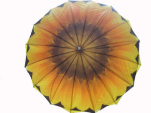 Sunflower Design Heat Transfer Printing Double Layers Straight Umbrella (SU025-2) pictures & photos