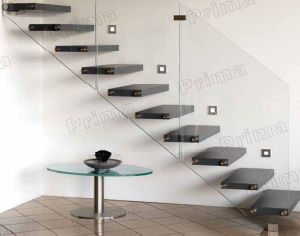 Modern Indoor Glass Railing Wooden Staircase Designs pictures & photos