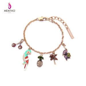 New Elegant Retro Alloy Women′s Bracelet Parrot and Fruit Design Pendant Jewelry pictures & photos