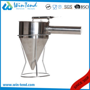 Stainless Steel Kitchen Oil Filter Funnel with Handle and Stand pictures & photos