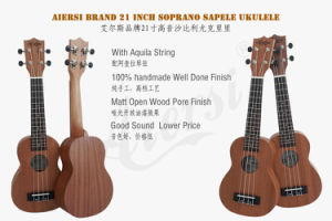 China Aiersi Brand 21 Inch Soprano Mahogany Hawaii Ukulele for Sale pictures & photos