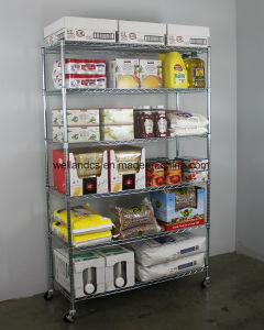 Adjustable 4 Tiers Chrome Wire Shelving Shelf Trolley Restaurant Equipment Food Storage Rack pictures & photos