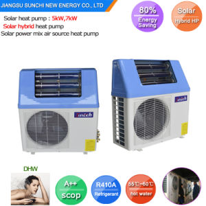 Top10 Hot Sell Home Dhw Using Tankless 220V Very High Cop5.32, 5kw, 7kw, 9kw Save 85% Power 65c Hot Water Solar Hybrid Heat Pump Heater pictures & photos
