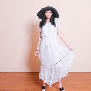 Beautiful Classic White Imitation Silk Dress