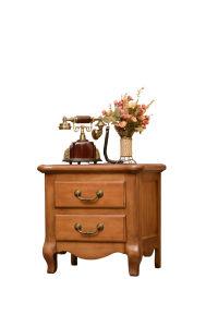 Solid Oak Wood Furniture Antique 2 Drawers Bedside