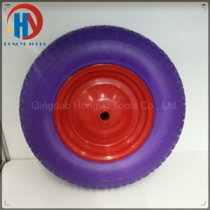 Colorful Metal Rim with Bearings 4.00-8 Solid PU Foam Wheel pictures & photos
