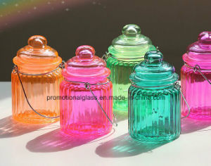 lantern Colored Glass Candle Jar with Metal Handle pictures & photos