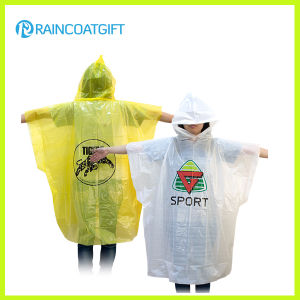 Custom Brand Logo Printed PE Disposable Raincoat for Promotion pictures & photos