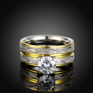 Fashion Titanium Steel Double Ring Round Zircon Finger Ring Gold Plated Design for Women pictures & photos