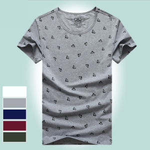 O-Neck Collar Flowers Graphic Short Sleeve Man Casual Tee pictures & photos