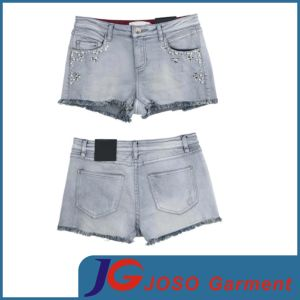 Women Denim Hot Cuffed Jean Shorts (JC6043) pictures & photos