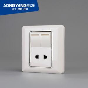 Flame Retardant PC Plastic Series 2 Gang + 1 Socket Switch