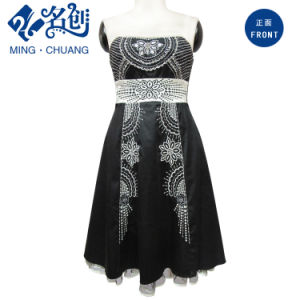 Black Ladies Evening A-Line Dress Fashion Beading pictures & photos
