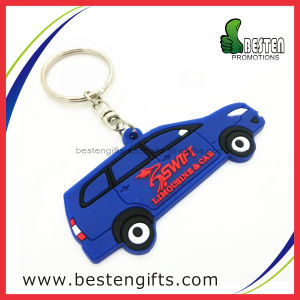 Car Shape Custom Promotion Gift 2D Soft Rubber PVC Key Chain (PV00015)