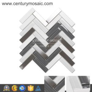 Herringbone White Thassos&Crystal Glass&Stainless Steel Wall Tile
