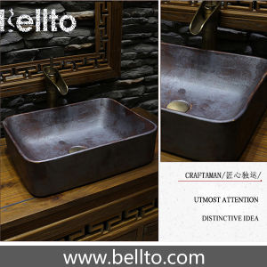 Antique porcelain vessel sinks with rustes iron surface treatment (3070B-R) pictures & photos