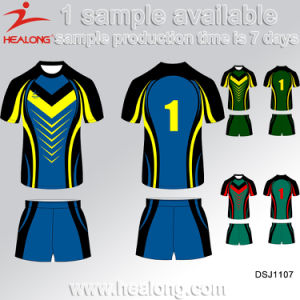 Healong Polyester Fully Sublimated Mockup Design of Rugby Jersey pictures & photos