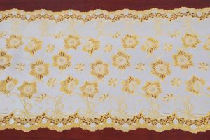 PVC Lace Table Runner with Gold/Silver Coated (JFBD-015) pictures & photos