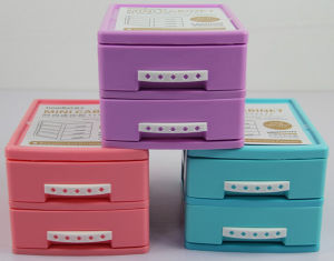 Mini Plastic Storage Cabinet with Two Drawers pictures & photos