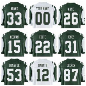 Adams Decker Forte Namath Klecko Football Jersey Stitched Custom and Regular Blank Green White Man Women Kids