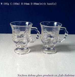 100ml High Quality Engraved Glass Cup with Handle pictures & photos