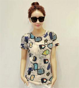 Korean Style Round Neck 100% Cotton T-Shirt for Women pictures & photos