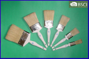 Shsy-999-1 White Wooden Handle White Bristle Paint Brush pictures & photos