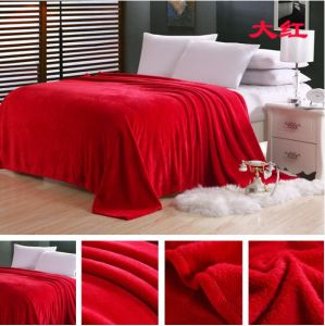 100% Polyester Solid Flannel Fleece Blanket pictures & photos
