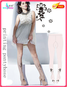 Fashion Trans-Printing Tights Pantyhose Silk Socks Stockings for Women (SR-1285)