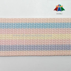 5cm Flat Braided Rainbow Color Striped Cotton Polyester Webbing pictures & photos