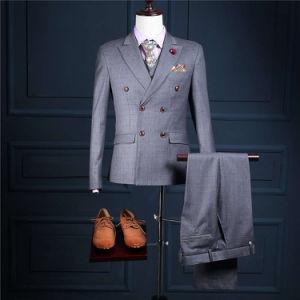 Custom Made 2 Buttons Slim Fit Formal Men Suit Business Wear Mans Wedding Suit (Coat+Pants+Vest) Ms10 Plaid Suits for Man