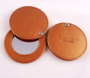 Lady Women PU Leather Make up Mirror with Logo (B2004)