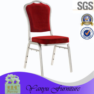 U Shape Tube Aluminum Hotel Banquet Red Fabric Chair