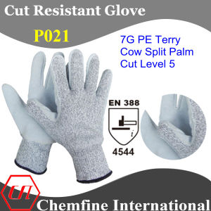 7g PE Terry Knitted Glove with Cow Split Leather Palm/ En388: 4544 pictures & photos